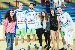 Zabic Igor, Grebenc Jan and Zarabec Miha of Slovenia with young fans after friendly match between Slovenia and Montenegro in Skofja Loka, Slovenia on 8th of June, 2017 .Photo by Grega Valancic / Sportida