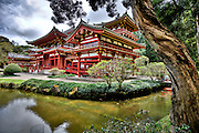 An HDR picture of the Byodo-In Buddhist Temple on the windward side of Oahu.
