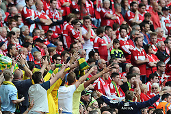 Norwich City fans taunt the fans of Middlesbrough after taking a two goal lead  - Photo mandatory by-line: Joe Meredith/JMP - Mobile: 07966 386802 - 25/05/2015 - SPORT - Football - London - Wembley Stadium - Middlesbrough v Norwich - Sky Bet Championship - Play-Off Final