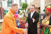 ANDREW LOGAN; ZANDRA RHODES; GARY RHODES; FLORENCE RICHARDS, , PRESS PREVIEW. The RHS Chelsea Flower Show 2011. The Royal Hospital grounds. Chelsea. London. 23 May 2011. <br /> <br />  , -DO NOT ARCHIVE-© Copyright Photograph by Dafydd Jones. 248 Clapham Rd. London SW9 0PZ. Tel 0207 820 0771. www.dafjones.com.