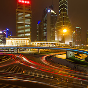 A long exposure captures the colors of and sights of Shanghai China at night.