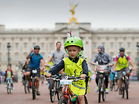 Young riders cycle down The Mall with Buckingham Palace in the background as part of the Prudential RideLondon FreeCycle 29/07/2017<br /> <br /> Photo: Tom Lovelock/Silverhub for Prudential RideLondon<br /> <br /> Prudential RideLondon is the world's greatest festival of cycling, involving 100,000+ cyclists – from Olympic champions to a free family fun ride - riding in events over closed roads in London and Surrey over the weekend of 28th to 30th July 2017. <br /> <br /> See www.PrudentialRideLondon.co.uk for more.<br /> <br /> For further information: media@londonmarathonevents.co.uk