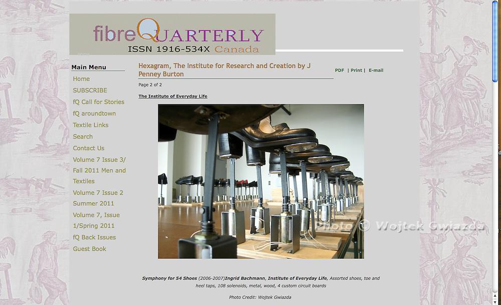 Fibre Quarterly<br /> <br /> Ingrid Bachmann's &quot;Symphony for 54 Shoes (Distant Echoes) http://www.ingridbachmann.com