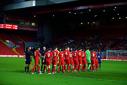 LIVERPOOL, ENGLAND - Monday, January 16, 2017: Liverpool and Manchester United players shake hands before the FA Premier League 2 Division 1 Under-23 match at Anfield. (Pic by David Rawcliffe/Propaganda)