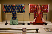 Heian era (794-1185) clothes exhibited at Ishiyamadera temple as part of the millennium celebration festivities,.