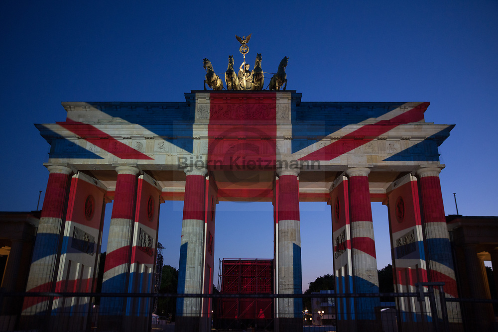 Berlin, Germany - 04.06.2017<br /> <br /> In memory of the victims of terror attacks in London, the British flag was projected onto the Brandenburg Gate in Berlin. Berlin is a twin town of London.<br /> <br /> In Gedenken a die Opfer der Terrorattacke von London wurde die britische Flagge auf das Brandenburger Tor projiziert. Berlin ist eine Partnerstadt von London.<br /> <br /> Photo: Bjoern Kietzmann