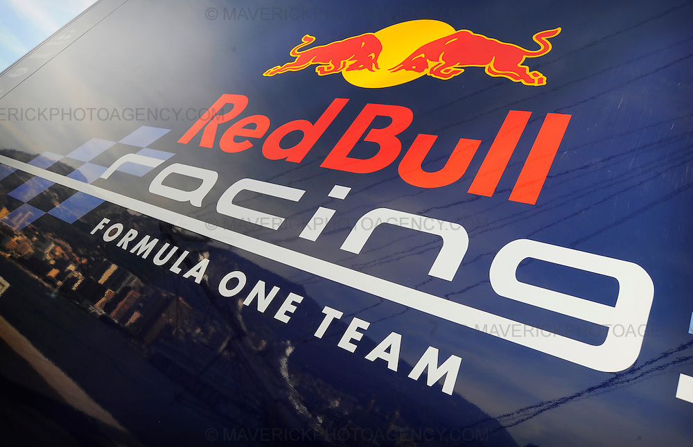 General View of the logo for Red Bull Racing Formula 1 team logo on the side of their transporter.