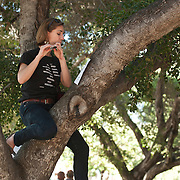 Piccolo player Alice Teyssier performs in the West Coast premiere of Inuksuit at the 66th Ojai Music Festival on June 7, 2012 in Ojai, California.