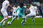 Queens Park Rangers midfielder Eberechi Eze (10) and Leeds United midfielder Mateusz Klich (43) during the EFL Sky Bet Championship match between Leeds United and Queens Park Rangers at Elland Road, Leeds, England on 2 November 2019.