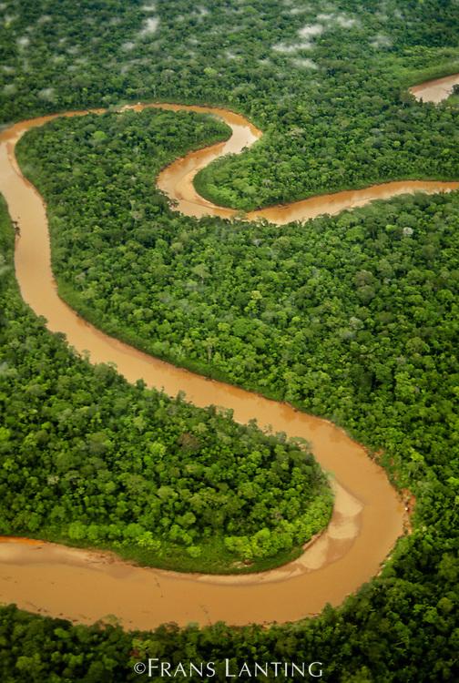 Meandering river in lowland rainforest (aerial), Tambopata Reserve, Peru