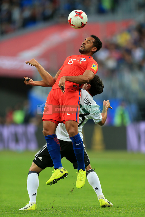 2nd July 2017 - FIFA Confederations Cup Final - Chile v Germany - Jean Beausejour of Chile battles with Lars Stindl of Germany - Photo: Simon Stacpoole / Offside.