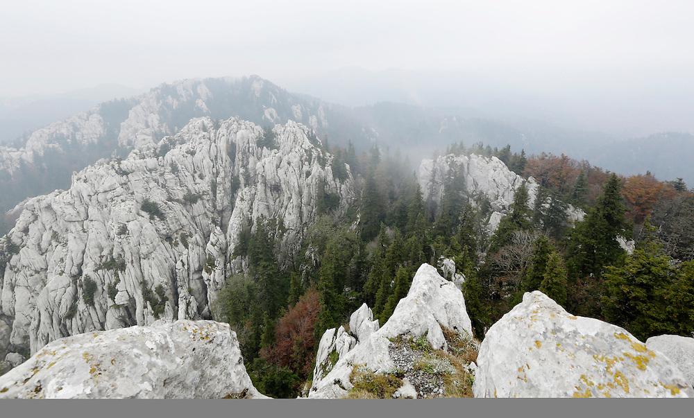 View from Bijele Stijene onto Samarske Stijene ('stijene' means rocks in croatian), Velika Kapela mountain region, Croatia.