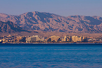 View from Aqaba, Jordan across the Gulf of Aqaba (Red Sea) looking to Eilat, Israel.
