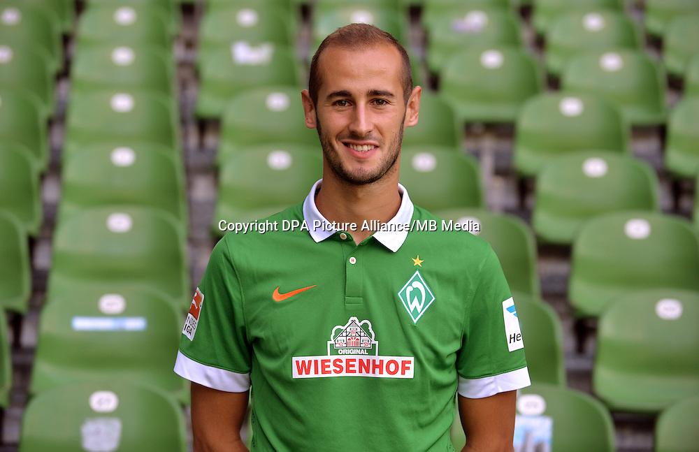 German Soccer Bundesliga - Official Photocall Werder Bremen,  Germany, on Sept. 14th 2014:<br /> Alejandro Galvez.