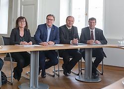09.03.2018, Landhaus, Innsbruck, AUT, Regierungsbildung in Tirol 2018, Start der Koalitionsgespräche in Tirol zwischen ÖVP und Grünen, im Bild v.l.: Landesrätin Beate Palfrader, Landehauptmann Günther Platter, Landeshauptmann-Stellvertreter Josef Geisler und Klubobmann Jakob Wolf // during the start of the coalition talks in Tyrol between the ÖVP and the Greens at the Landhaus in Innsbruck, Austria on 2018/03/09. EXPA Pictures © 2018, PhotoCredit: EXPA/ Jakob Gruber