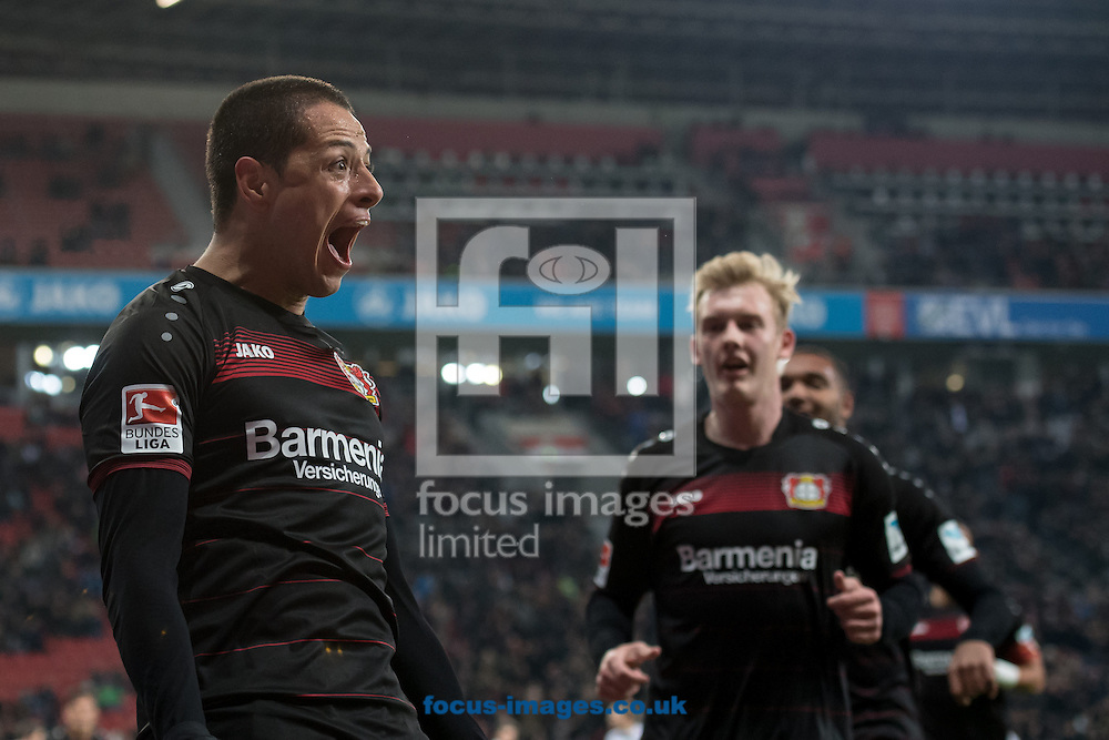 Javier &quot;Chicharito&quot; Hernandez of Bayer Leverkusen celebrates scoring their second goal against Borussia Monchengladbach during the Bundesliga match at BayArena, Leverkusen<br /> Picture by EXPA Pictures/Focus Images Ltd 07814482222<br /> 28/01/2017<br /> *** UK &amp; IRELAND ONLY ***<br /> <br /> EXPA-EIB-170128-1314.jpg