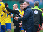 Lincoln City Manager Chris Moyses passes on instructions from the touchline during the The FA Cup match between Whitehawk FC and Lincoln City at the Enclosed Ground, Whitehawk, United Kingdom on 8 November 2015. Photo by Bennett Dean.