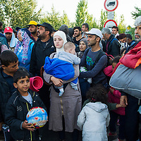 Refugees in a standoff with policerefusing to go to a registration center - a center which was already full. They wanted to carry on with their journey, through to Budapest and on to Austria and Germany, and some had already been held near here in a field a kilomtere inside the border from Serbia, for five days. Eventually the refugees agreed to go to the registration camp, but as it was still full, had to spend another night outside. By nightfall, hundreds more refugees had already arrived from Serbia at the original 'collection point'