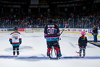 KELOWNA, CANADA - NOVEMBER 3: Roman Basran #30 of the Kelowna Rockets and the pepsi players of the game line up against the Brandon Wheat Kings  on November 3, 2018 at Prospera Place in Kelowna, British Columbia, Canada.  (Photo by Marissa Baecker/Shoot the Breeze)