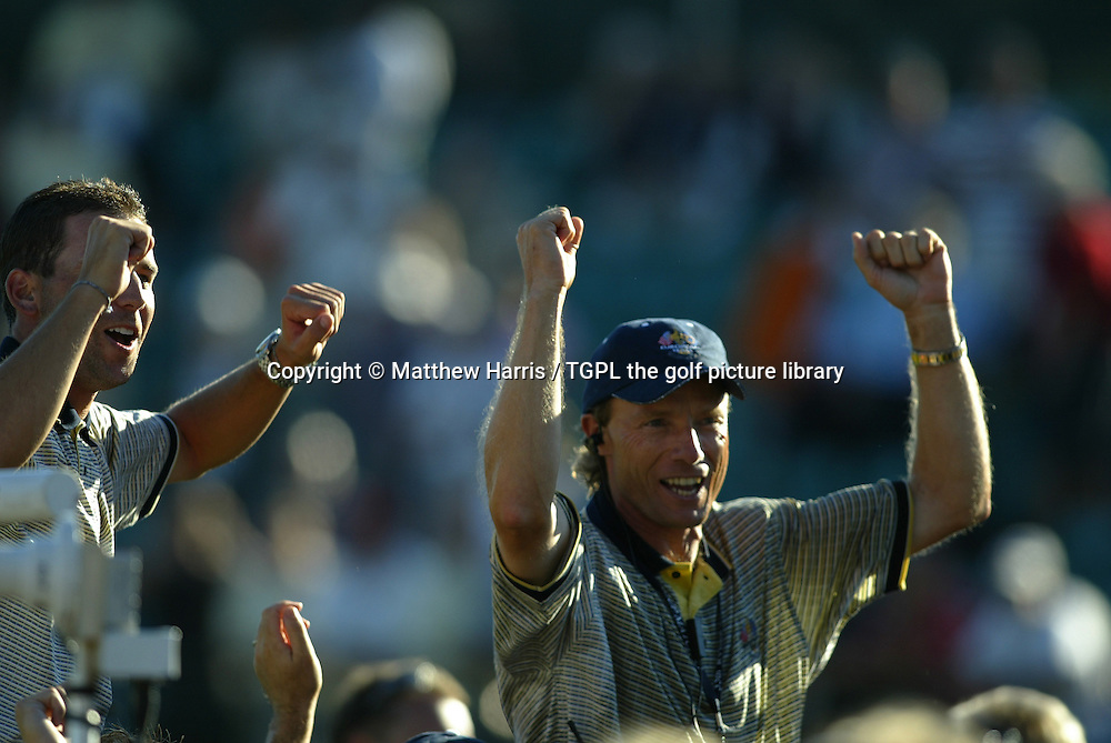 Winning captain Bernhard LANGER (EUR) celebrates a sweet victory over team USA 18.5 points to 9.5 on the shoulders of his team as Paul CASEY (EUR) joins in during final day Singles of the Ryder Cup Matches 2004,Oakland Hills (South Course),Bloomfield,Michigan,USA.