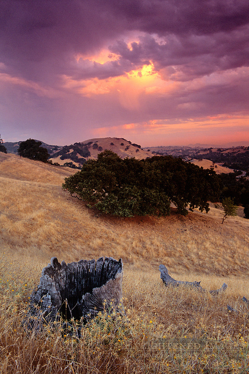 Stormy sunrise in the Diablo foothills from Summit Ridge, Lafayette Contra Costa County, CALIFORNIA