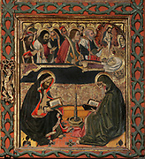 Dormition or Death of the Virgin, with her soul ascending to Christ in heaven and priests reading texts by a candle below, from the Life of the Virgin, on the Altarpiece of the Constable or Epiphany Altarpiece, 1464-65, by Jaume Huguet, c. 1412-92, tempera on panel, in Gothic style, commissioned by Don Pedro of Portugal, in the Royal Chapel of Santa Agatha in the Palacio Real Mayor in Barcelona, Spain. The central panel is the most important and depicts the Adoration of the Magi. The side and top panels depict the Life of the Virgin and Jesus Christ, and Saints are portrayed at the bottom. Picture by Manuel Cohen