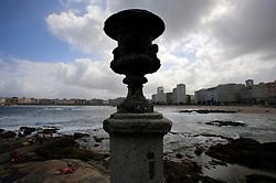 SPAIN GALICIA LA CORUNA 26AUG11 -  View of the coastline at Riazor Beach in La Coruna, Galicia, Spain.....jre/Photo by Jiri Rezac....© Jiri Rezac 2011