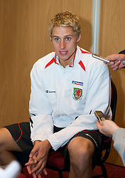 CARDIFF, WALES - Tuesday, October 7, 2008: Wales' David Edwards during a media session at the Vale of Glamorgan Hotel ahead of the 2010 FIFA World Cup South Africa Qualifying Group 4 match against Liechtenstein. (Photo by David Rawcliffe/Propaganda)