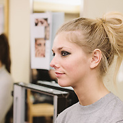PROVIDENCE, RI - FEB 13: A model backstage at the Alistair Archer show during StyleWeek NorthEast on February 13, 2015 in Providence, Rhode Island. (Photo by Cat Laine)