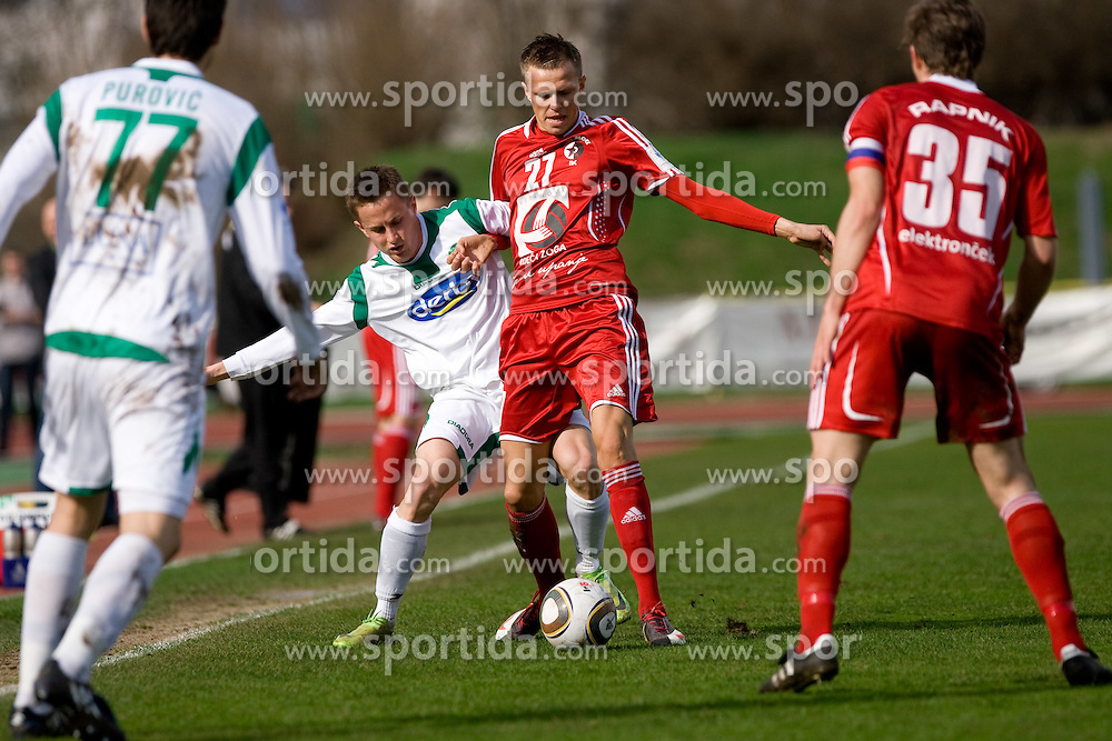 Erik Salkic of Olimpija vs Josip Ilicic of Interblock at football match of 28th Round of 1st Slovenian League  between NK Interblock and NK Olimpija, on March 27, 2010, in ZAK Stadium, Ljubljana, Slovenia. Interblock defeated Olimpija 2-1. (Photo by Vid Ponikvar / Sportida)