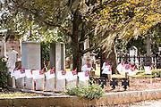 Grave site of the civil war era submarine HL Hunley sailors in historic Magnolia Cemetery in Charleston, South Carolina.