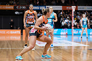 SYDNEY, NSW - JUNE 22: Kim Green of the Giants looks to pass the ball during the round 9 Super Netball match between the Giants and the Vixens at Quaycentre on June 22, 2019 in Sydney, Australia. (Photo by Speed Media/Icon Sportswire)