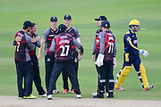Somerset celebrate the wicket of Adam Wheater of Hampshire during the Royal London One Day Cup match between Hampshire County Cricket Club and Somerset County Cricket Club at the Ageas Bowl, Southampton, United Kingdom on 2 August 2016. Photo by David Vokes.