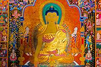 Painting of Buddha in a shop, Patan (Lalitpur), Kathmandu Valley, Nepal.