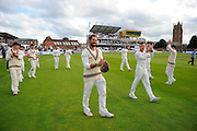 Peter Trego of Somerset on the parade around the County Ground after the win over Nottinghamshire in the Specsavers County Champ Div 1 match between Somerset County Cricket Club and Nottinghamshire County Cricket Club at the Cooper Associates County Ground, Taunton, United Kingdom on 22 September 2016. Photo by Graham Hunt.