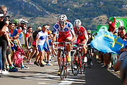 Luis Angel Mate (ESP, Cofidis) and Jesus Herrada (ESP, Cofidis) during the 73th Edition of the 2018 Tour of Spain, Vuelta Espana 2018, Stage 13 cycling race, Candas Carreno - La Camperona 174,8 km on September 7, 2018 in Spain - Photo Luca Bettini / BettiniPhoto / ProSportsImages / DPPI