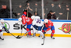 Anthony Rech of France, Henrik Odegaard of Norway, Nicolas Ritz of France and Martin Roymark of Norway during the 2017 IIHF Men's World Championship group B Ice hockey match between National Teams of Norway and France, on May 6, 2017 in Accorhotels Arena in Paris, France. Photo by Vid Ponikvar / Sportida