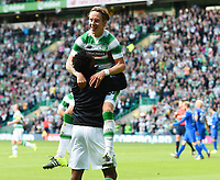 15/07/15 UEFA CHAMPIONS LEAGUE QUALIFIER<br /> CELTIC V STJARNAN<br /> CELTIC PARK - GLASGOW<br /> Celtic's Stefan Johansen (top) celebrates his goal with substitute Efe Ambrose.