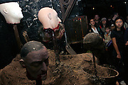 Visitors passing by one of the numerous installations inside the London Dungeon, England, on Thursday, Oct. 12, 2006. The London Dungeon is a live theatre attraction where visitors are taken by the actors through different areas featuring the darkest parts of British history. Some of the more than 40 exhibits include 'The Great Fire of London', 'Jack the Ripper', 'Judgement Day', 'The Torture Chamber', 'Henry VIII', 'The Tower of London' and 'The French Revolution'. In 2003 a new part opened focused on the Great Plague of 1665.   **Italy Out**..
