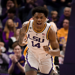 Jan 19, 2019; Baton Rouge, LA, USA; LSU Tigers guard Marlon Taylor (14) reacts after a basket against the South Carolina Gamecocks during the second half at the Maravich Assembly Center. Mandatory Credit: Derick E. Hingle-USA TODAY Sports