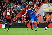 Vicente Iborra (21) of Leicester City holds off Andrew Surman (6) of AFC Bournemouth during the Premier League match between Bournemouth and Leicester City at the Vitality Stadium, Bournemouth, England on 30 September 2017. Photo by Graham Hunt.