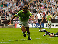 Fotball<br /> England 2005/2006<br /> Foto: SBI/Digitalsport<br /> NORWAY ONLY<br /> <br /> Newcastle United v Deportivo La Coruna<br /> Intertoto Cup.<br /> 03/08/2005.<br /> Deportivo's Jorge Andrade celebrates after his goal puts Newcastle in danger of going out of the Intertoto Cup.