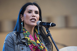 "October 23, 2016 - Los Angeles, California, United States - Native American activist and actress, Joanelle Romero, speaks during Climate Revolution Rally in Los Angeles, California. October 23, 2016. The rally is part of a series of ""Climate Revolution"" rallies held across the country to inform people about issues related to climate change and social justice. (Credit Image: © Ronen Tivony/NurPhoto via ZUMA Press)"