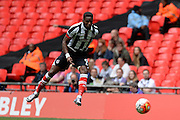 Grimsby Town striker Omar Bogle shoots during the FA Trophy match between Grimsby Town FC and Halifax Town at Wembley Stadium, London, England on 22 May 2016. Photo by Dennis Goodwin.