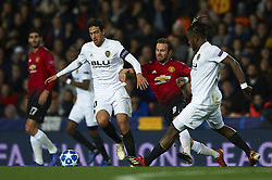 December 12, 2018 - Valencia, Spain - Daniel Parejo and Michy Batshuayi of Valencia and Juan Mata of Manchester United during the match between Valencia CF and Manchester United at Mestalla Stadium in Valencia, Spain on December 12, 2018. (Credit Image: © Jose Breton/NurPhoto via ZUMA Press)