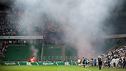Hooligans from Wroclaw with flares during soccer Polish Cup Final between Legia Warsaw and Slask Wroclaw at Pepsi Arena in Warsaw, Poland...Poland, Warsaw, May 08, 2013..Picture also available in RAW (NEF) or TIFF format on special request...For editorial use only. Any commercial or promotional use requires permission...Photo by © Adam Nurkiewicz / Mediasport
