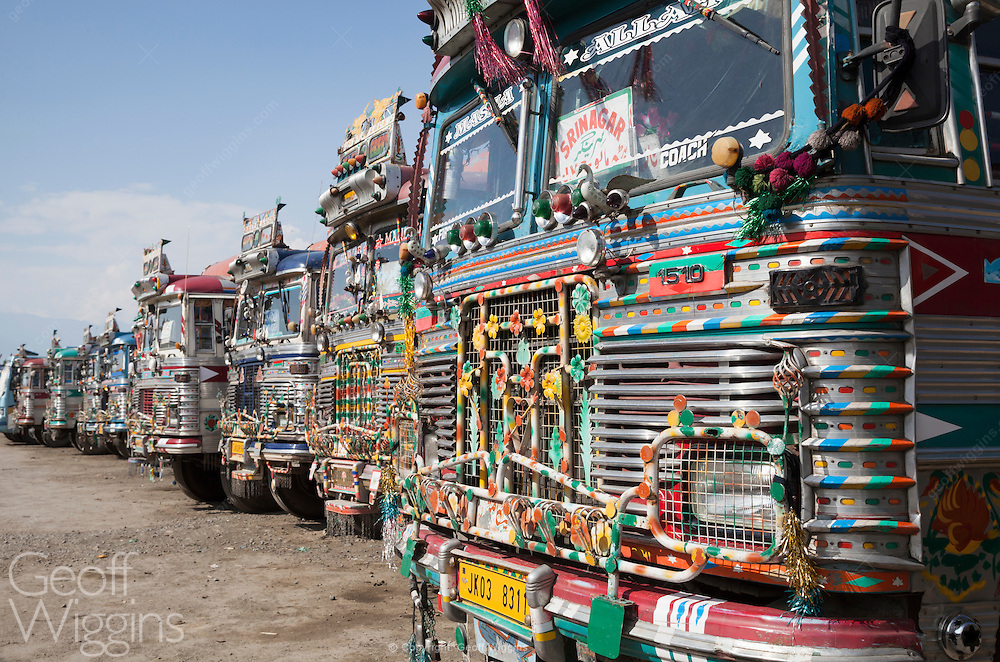 Decorated Indian passenger buses at Srinagar bus station, Kashmir, India