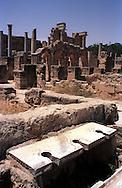 Libia, Leptis Magnia.Considerato il più bel sito romano del Mediterraneo.Le Terme di Adriano, le latrine.Libya, Leptis Magna.Considered the best Roman site in the Mediterranean.The Baths of Hadrian, the latrines