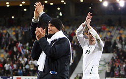 Mitja Morec and Milivoje Novakovic after the 8th day qualification game of 2010 FIFA WORLD CUP SOUTH AFRICA in Group 3 between Slovenia and Czech Republic at Stadion Ljudski vrt, on March 28, 2008, in Maribor, Slovenia. Slovenia vs Czech Republic 0 : 0. (Photo by Vid Ponikvar / Sportida)