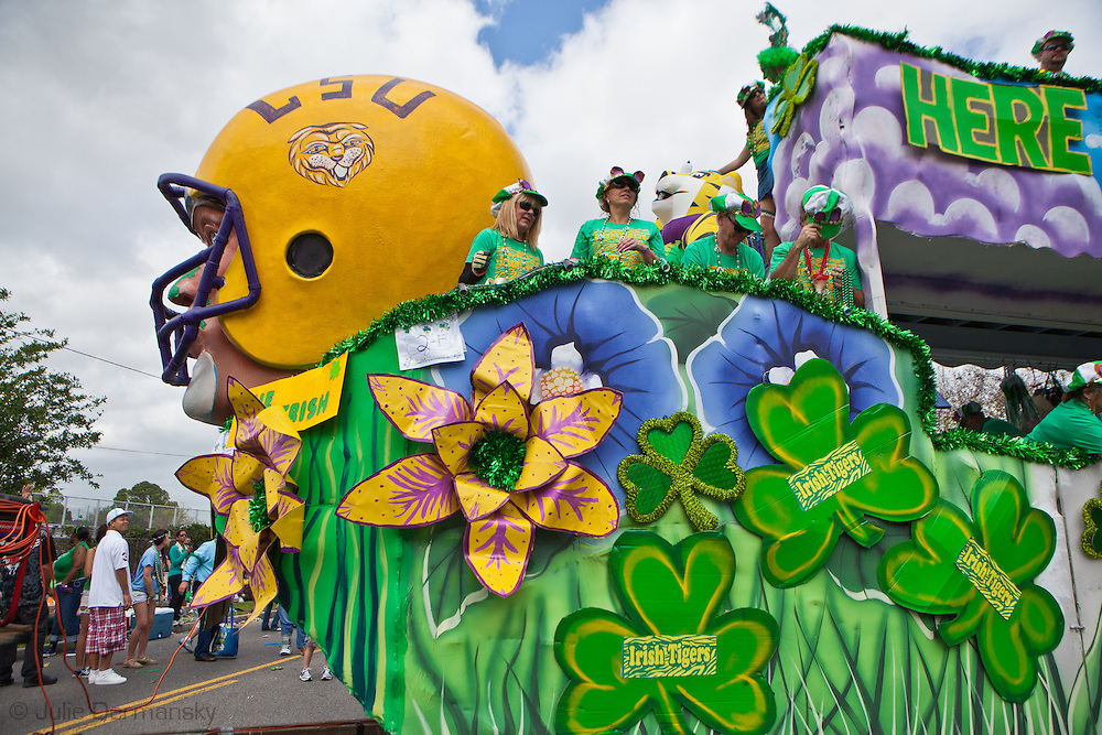 March 11, 2012, Float in the annual Metairie Road St. Patrick's Day parade with riders throwing cabbage, toys and Mardi Gras bead.  St. Patrick's Day celebrations kick off early in Metairie Louisiana, with the annual Metairie Road St. Patrick's Day Parade.